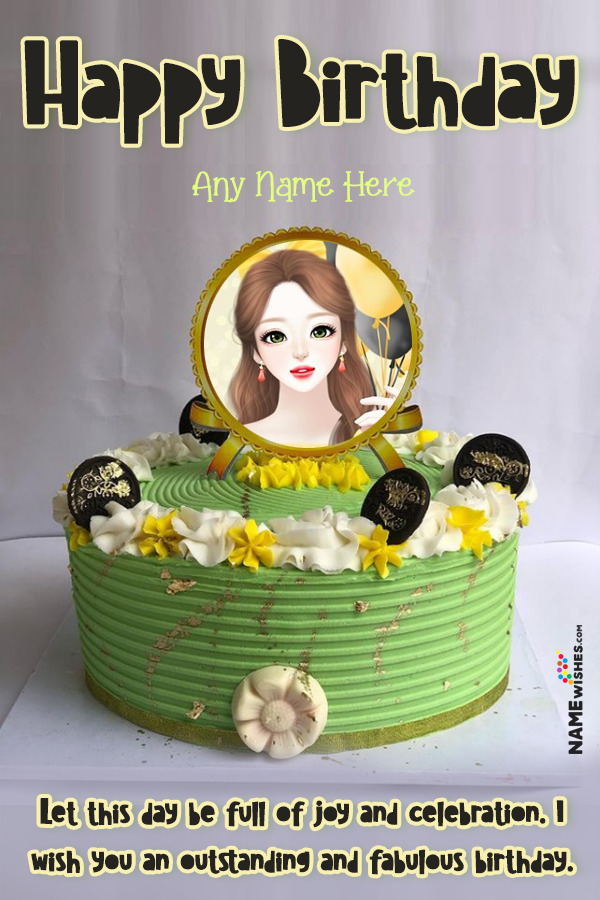 Green Caramel Happy Birthday Cake With name and Photo Edit