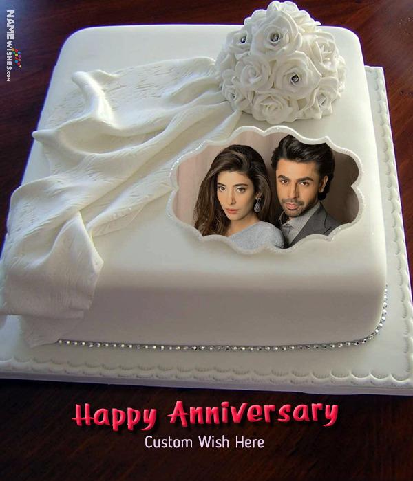 Happy Anniversary Cake With Photo and Custom Wish