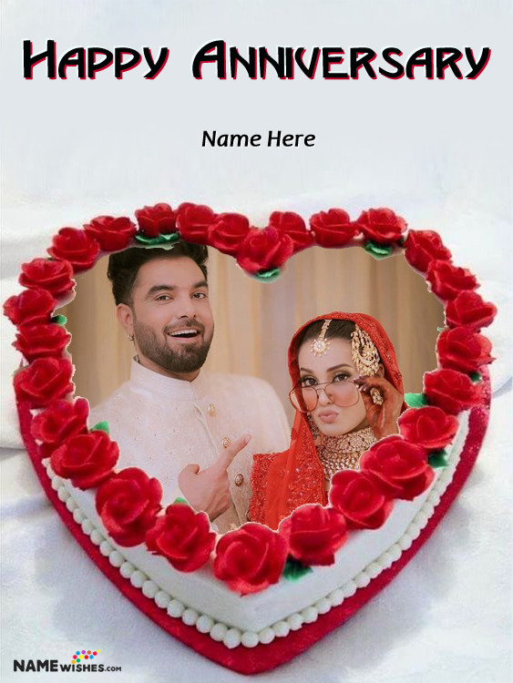 Happy Anniversary Heart Shaped Red Cake With Name and Photo
