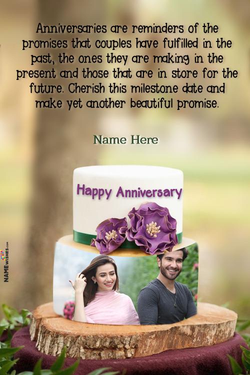 Happy Anniversary Vanilla 2 Tier Cake Wish With Name and Photo
