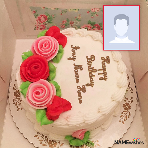 Happy Birthday Cake with Name and Photo for Lovers