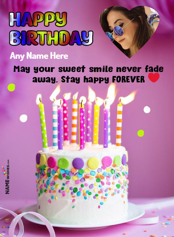 Happy Birthday Heart Wish with Name and Photo For Loved Ones