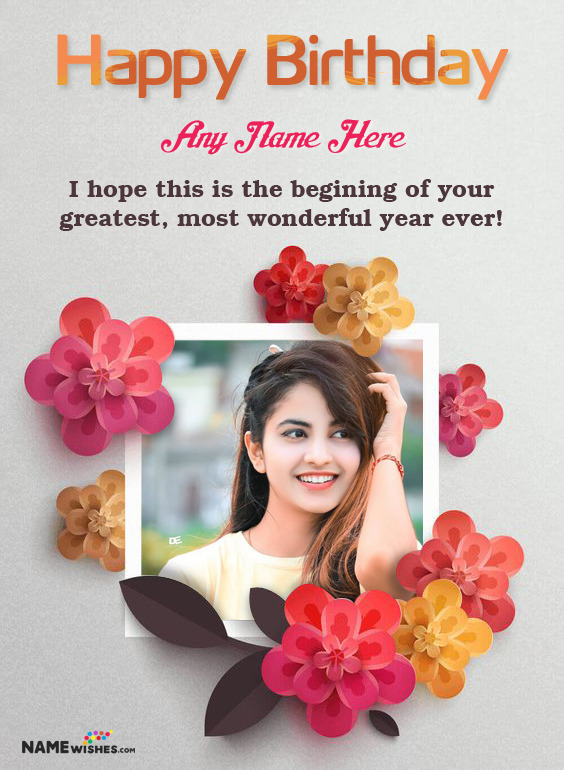 Happy Birthday Lovely Floral Photo Frame With Wish And Name For Friends