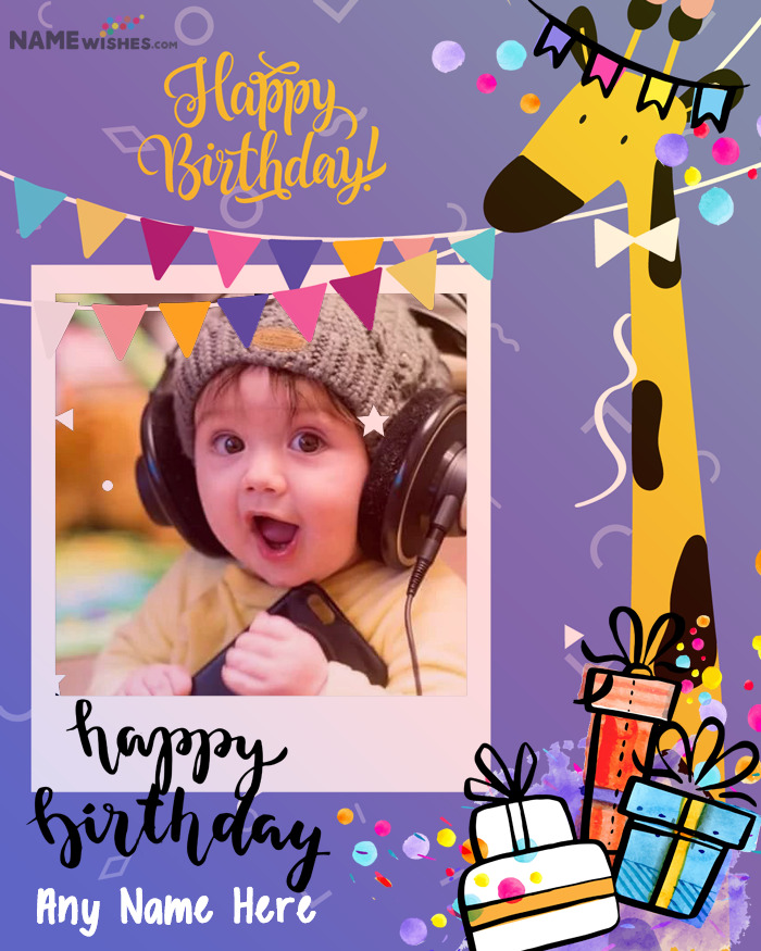 Happy Birthday Wish For Kids With Name and Photo Edit Option