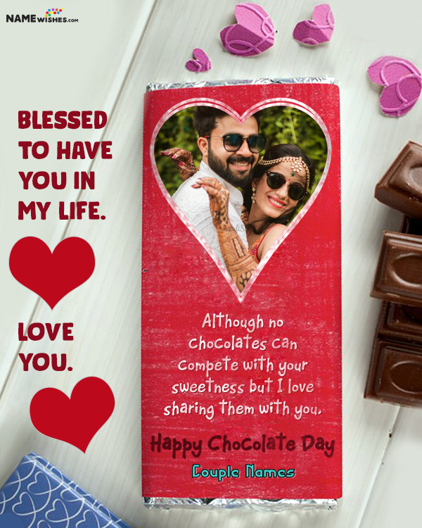 Happy Chocolate Day Wish With Name and Photo Edit Online