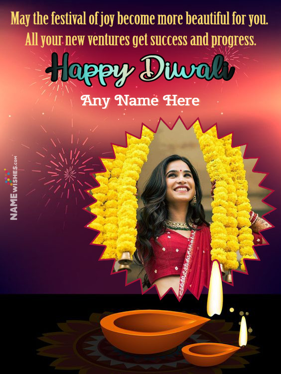 Happy Diwali Wishes With Name and Photo For Free Online Edit