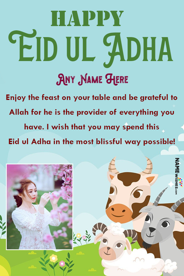 Happy Eid ul Adha Lovely Wish with Name and Pic Edit