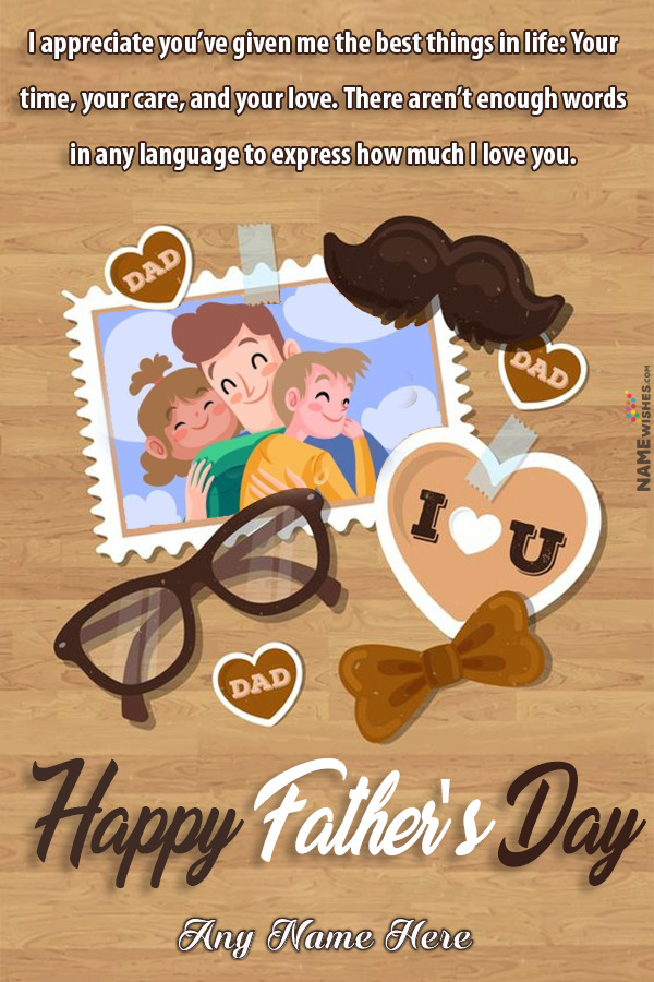 Happy Fathers Day Greeting Card Wish From Daughter From Son