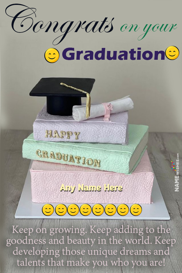 Happy Graduation Cake with Name and Graduation Message Online