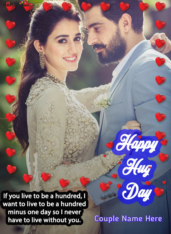 Happy Hug Day Hearts Frame with Lovely Wish and Name Edit Online