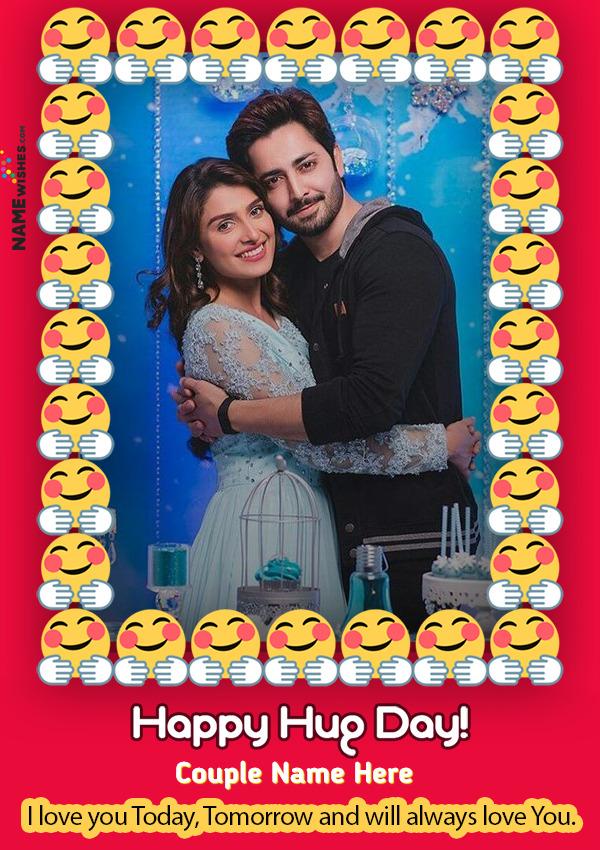 Happy Hug Day Hug Emoji Photo Frame With name and Wish Online