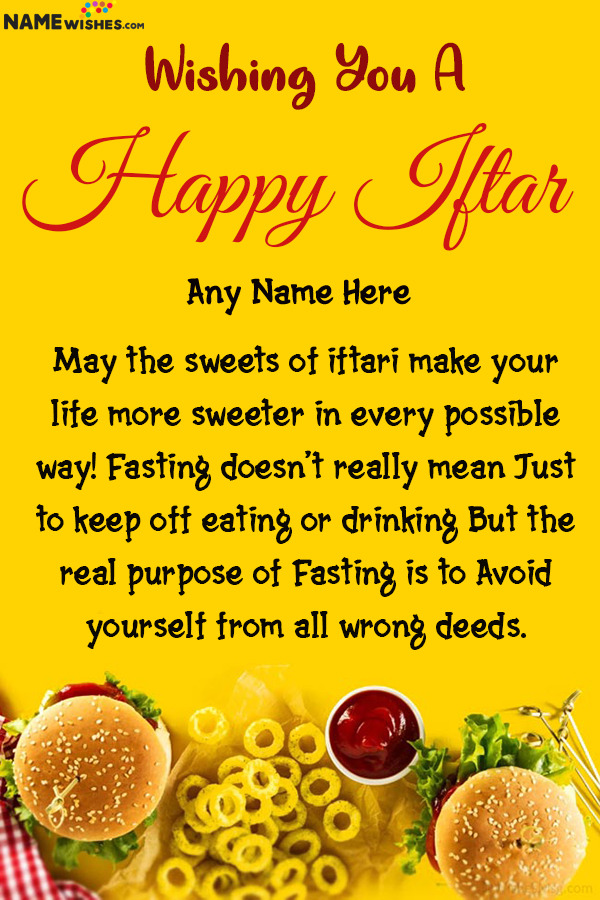 Happy Iftar Ramadan Mubarak Wishes With Name Edit Online