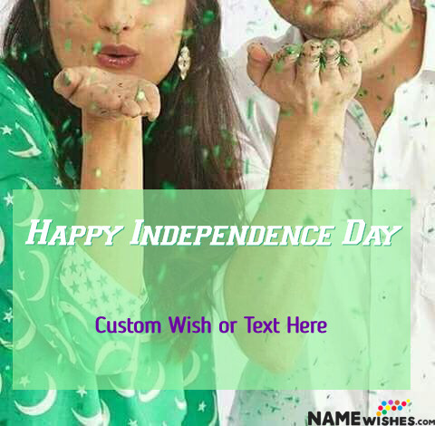 Happy Independence Day Couple Photo With Wish and Name