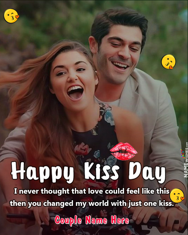 Happy Kiss Day Photo Frame For Lovers Free Online Edit