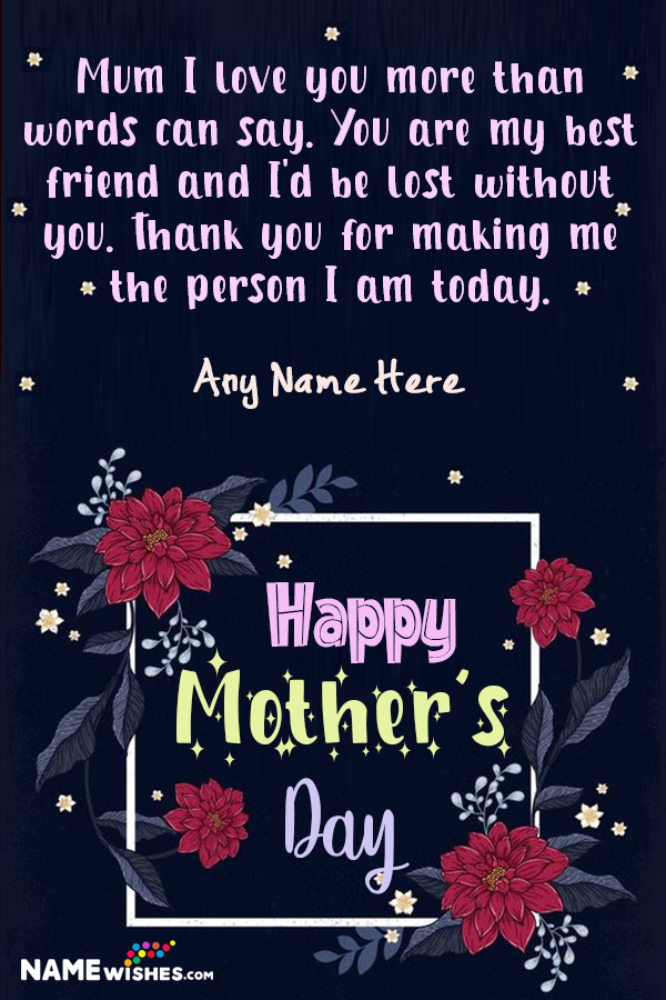 Happy Mother's Day Lovely Wish With Name Edit Online