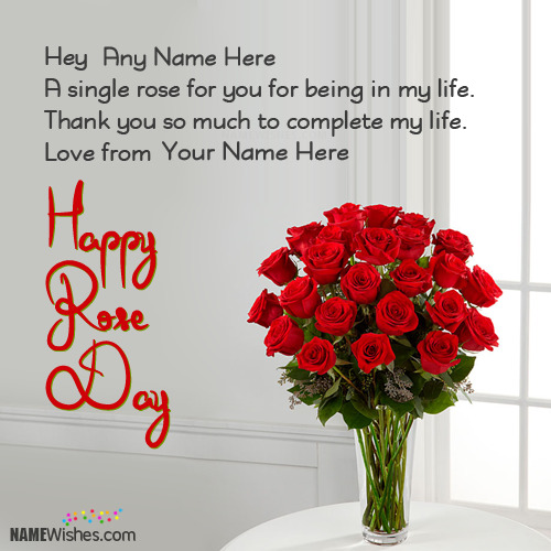 New Rose Day Wishes With Couple Names