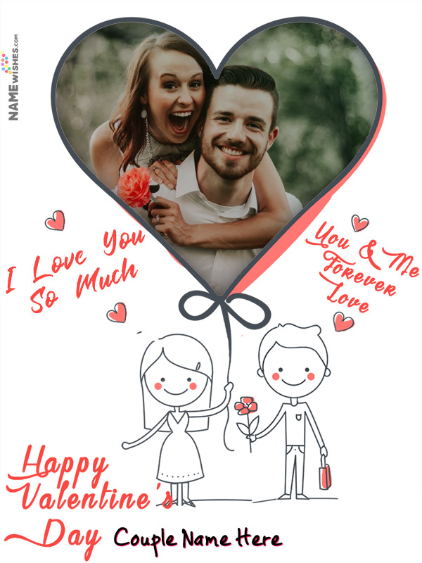 Happy Valentines Love Frame with Animated Cartoons For Lovers