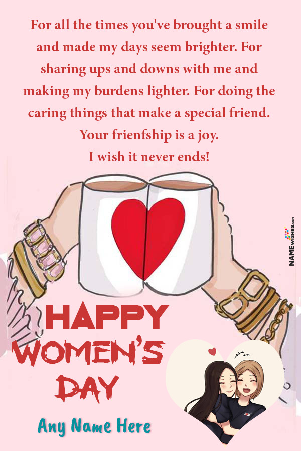 Happy Women's Day Wish For Friends Cute Hands Pic with Name Edit