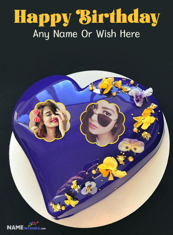 Heart Birthday Cake With Name and 2 Photos For Every Relation