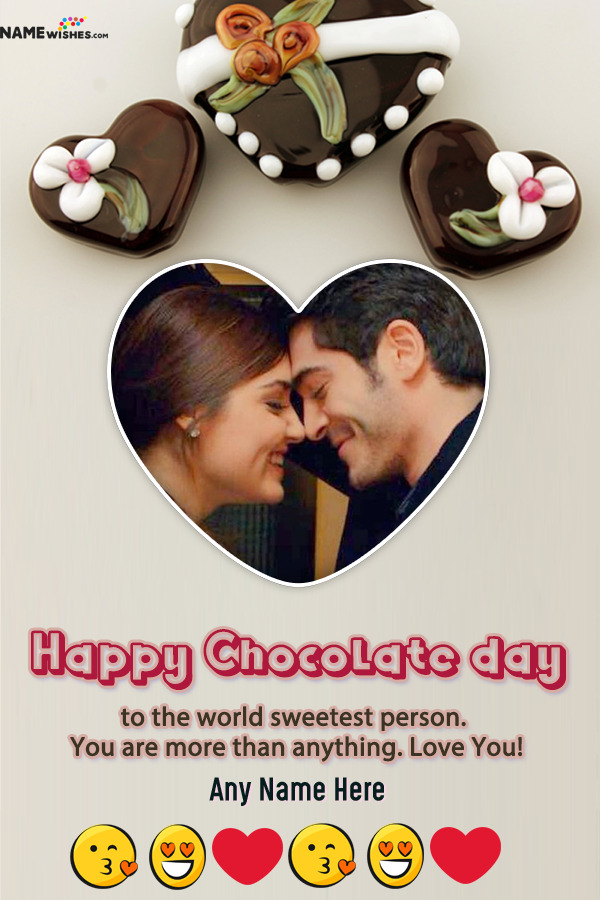 Heart Shaped Frame Happy Chocolate Day With Name and Photo Frame