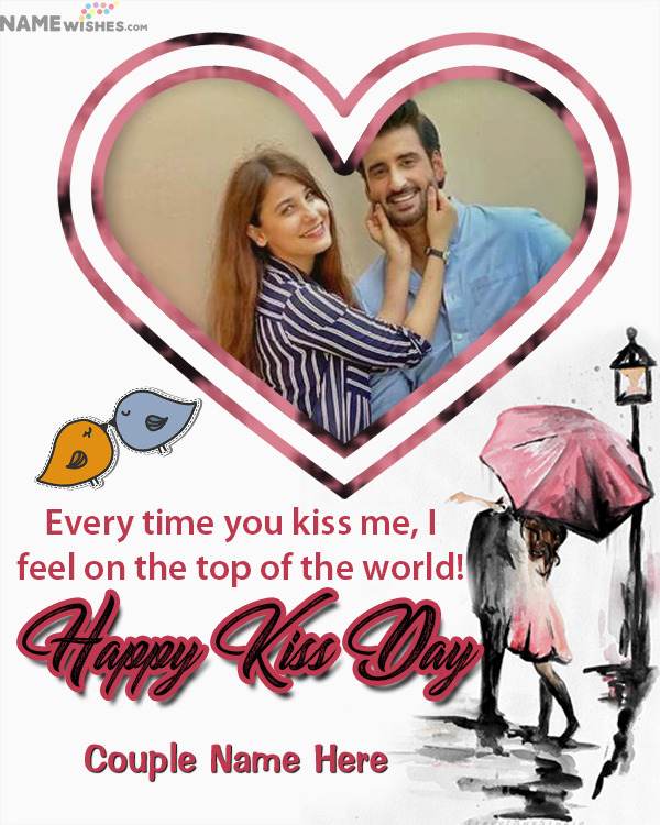Heart Shaped Happy Kiss Day Photo Frame For Lovers or Friends