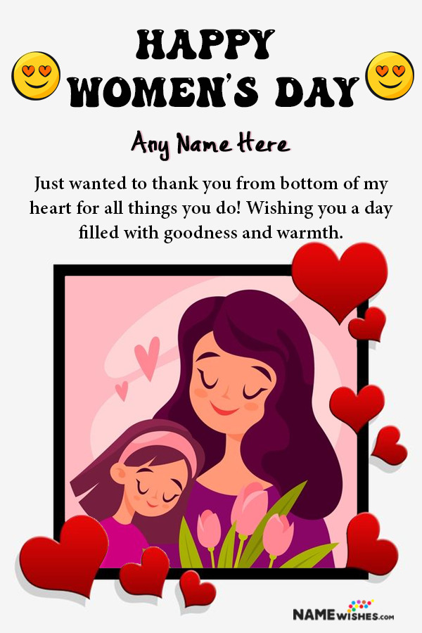 Hearts Happy Women's Day Wish With Name and Pic Edit Online