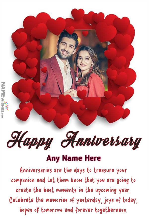 Hearts Love Anniversary Photo Frame Wish with Name Edit Online