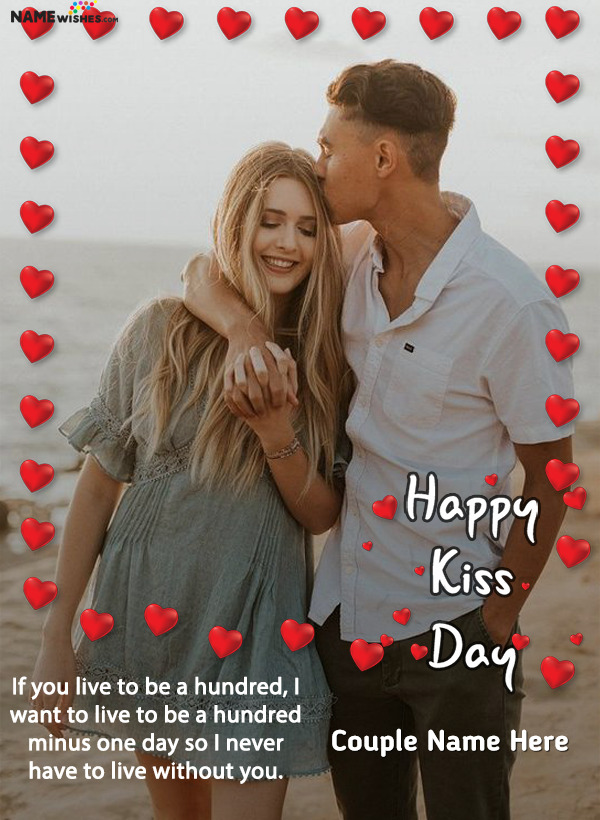 Hearts Love Photo Frame Happy Kiss Day With Name edit Online