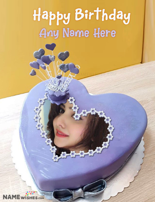 Indigo Heart Birthday Cake With Name and Photo Download