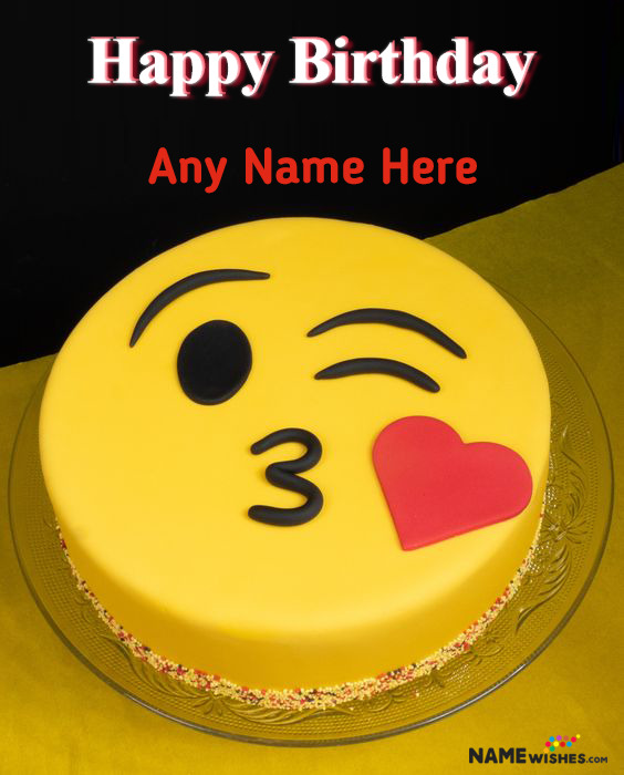 Kiss Emoji Smiley Birthday Cake With Name For Love