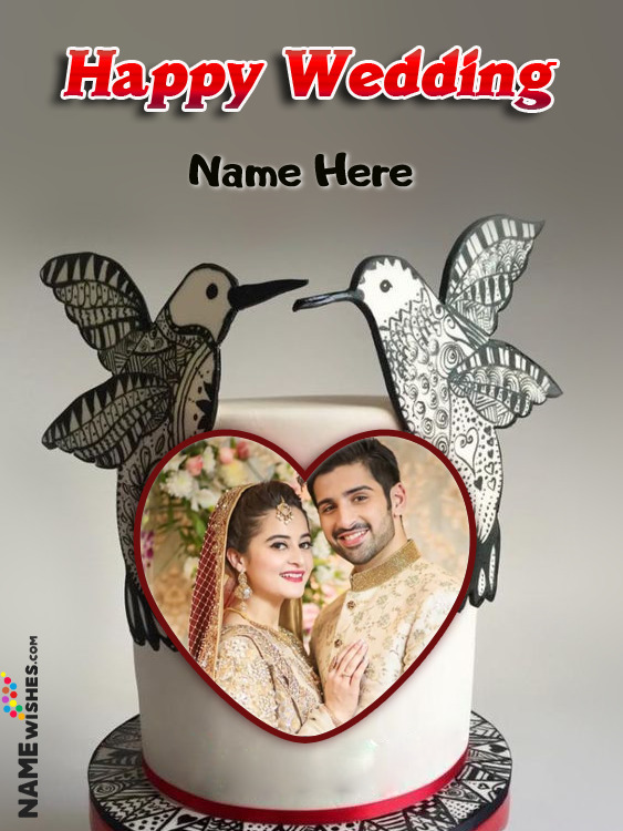 Love Birds Happy Wedding Cake With Heart Name and Photo
