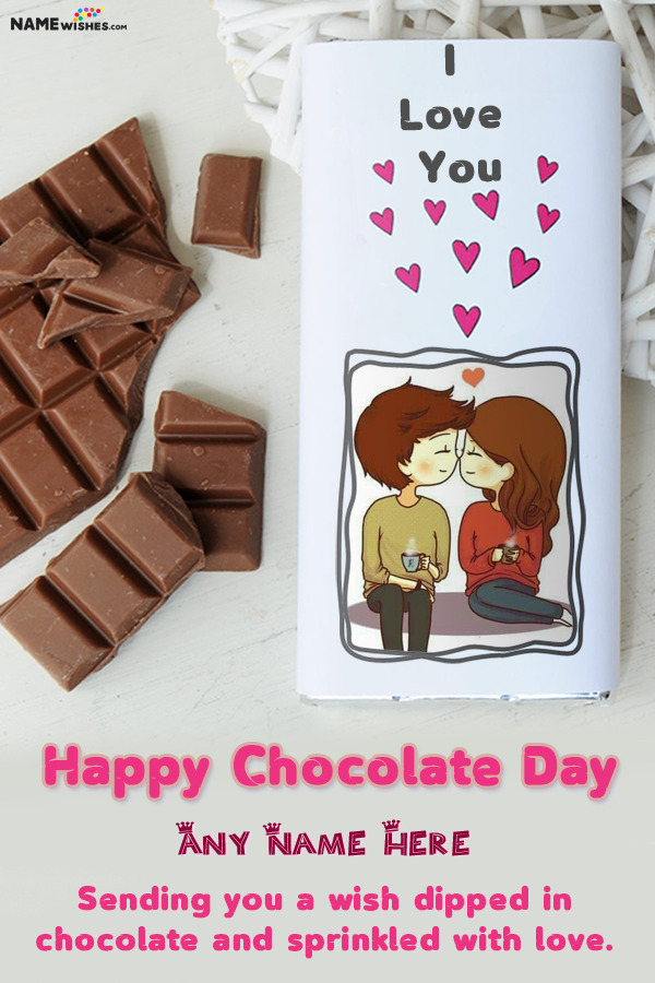 Love Happy Chocolate Day Wish With Name and Photo Online Gift