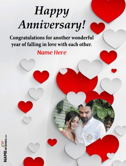 Love Heart Anniversary Wish With Name And Photo