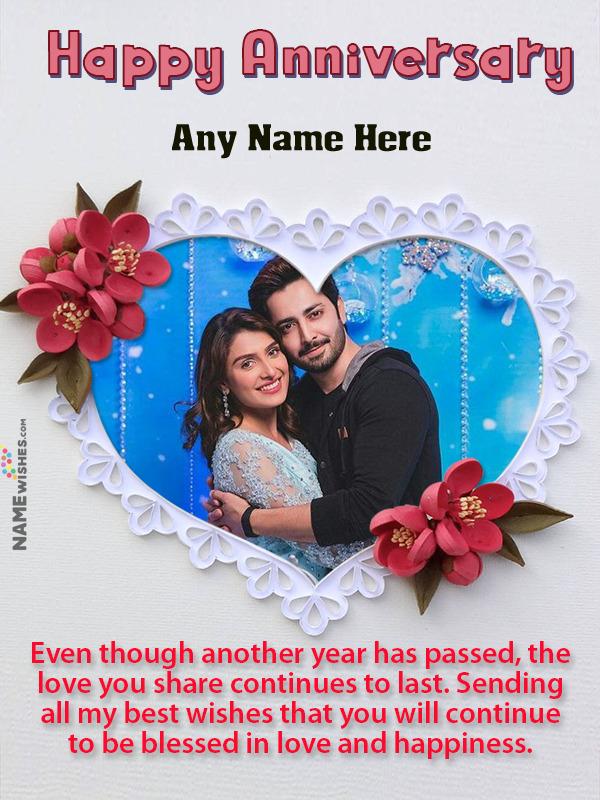 Love Heart Wedding Anniversary Wish With Name and Photo