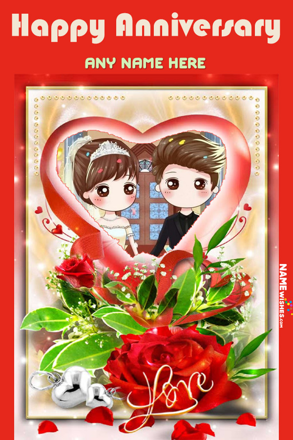 Love Marriage Anniversary Photo Frame With Name