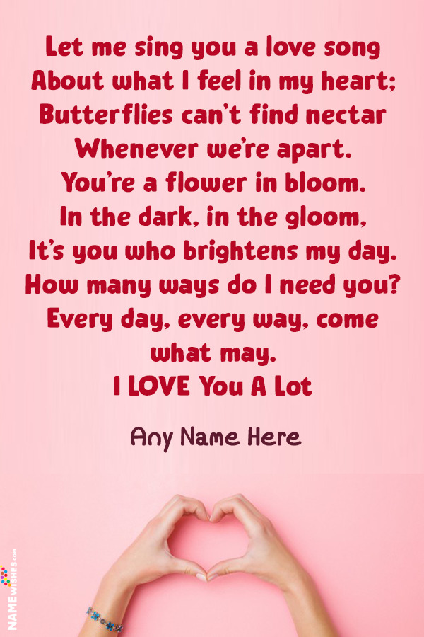 Love Poems Romantic For GirlFriend or BoyFriend With Name Edit Online