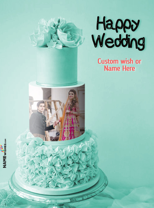 Lovely 3 Tier Wedding Flowers Cake With Name and Photo