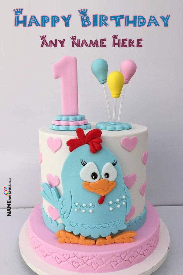 Lovely Colorful First Birthday Cake With Name Edit Online Gift