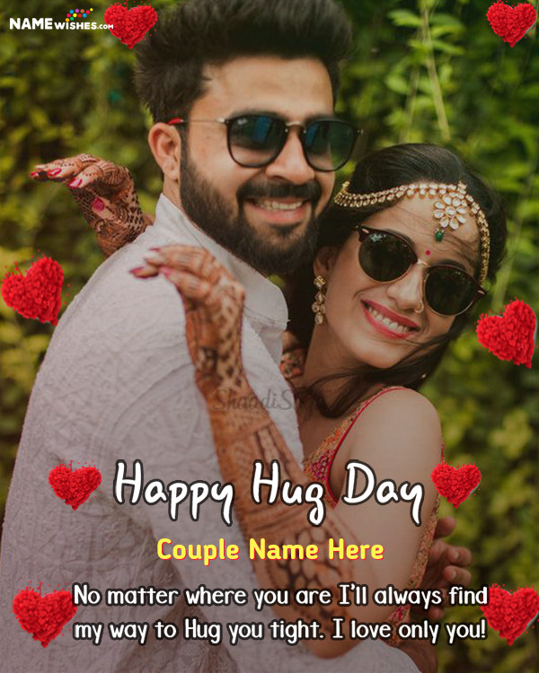 Lovely Happy Hug Day Hearts Wish With name and Full Photo Online