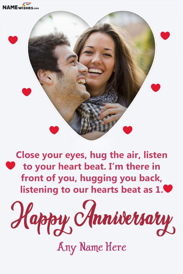 Lovely Heart Anniversary Wish With Name and Photo Frame Free Online