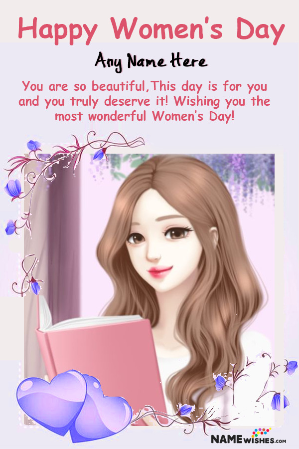 Lovely Hearts Womens Day Photo Frame With Name Free Online Gift