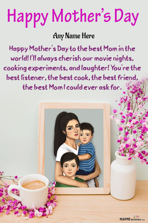 Lovely Mothers Day Wish With Name and Photo Frame Edit Online
