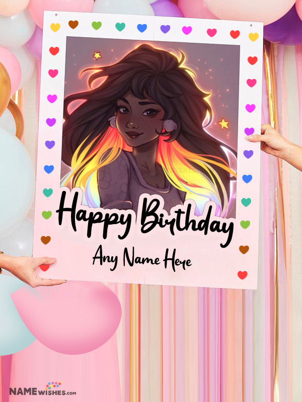 Lovely Photo Board Birthday Wish With Name