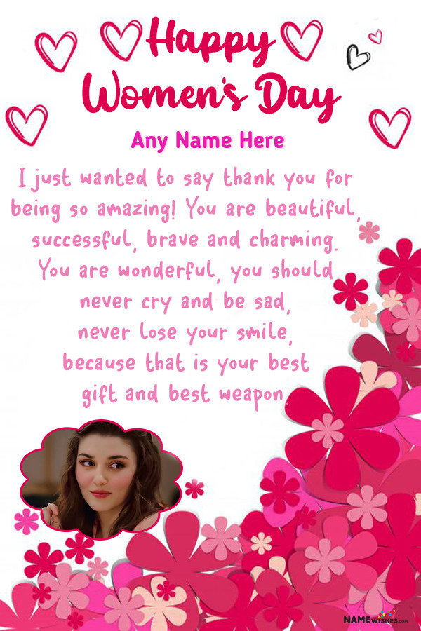 Lovely Pink Hearts Women's Day Wish With Name and Photo
