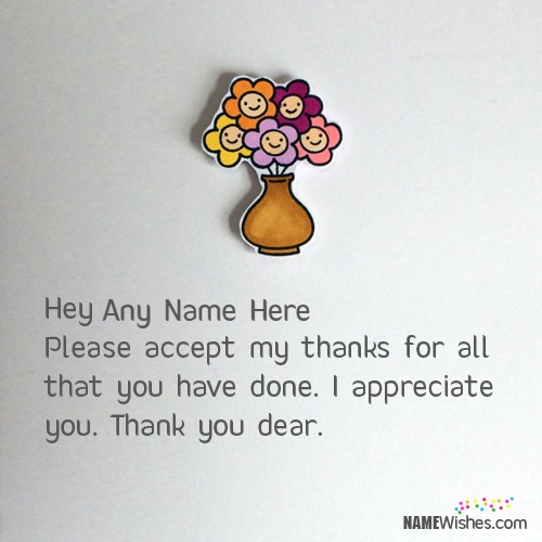 Lovely Thank You Cards With Name