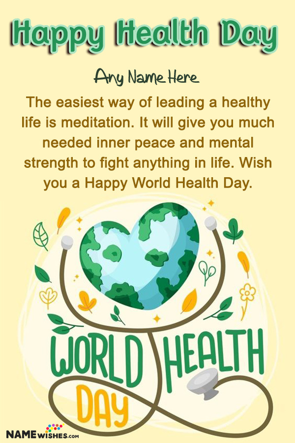 Lovely World Health Day Wish Art With Name Edit Online