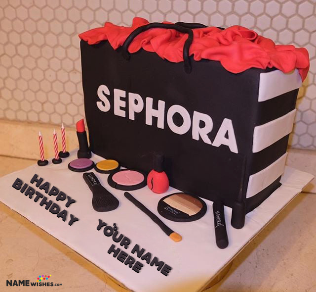 Makeup Birthday Cake With Name For Girls