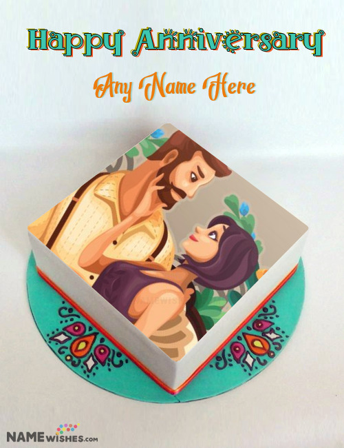 Mandala Square Anniversary Cake With Photo and Name