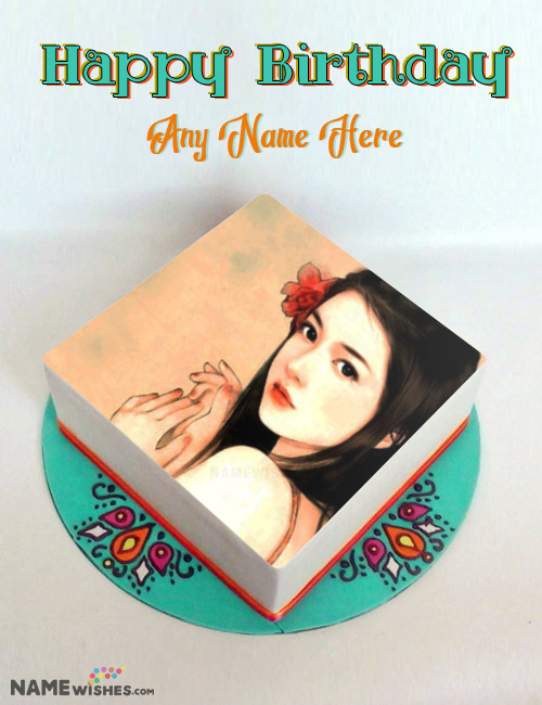Mandala Square Birthday Cake With Photo and Name