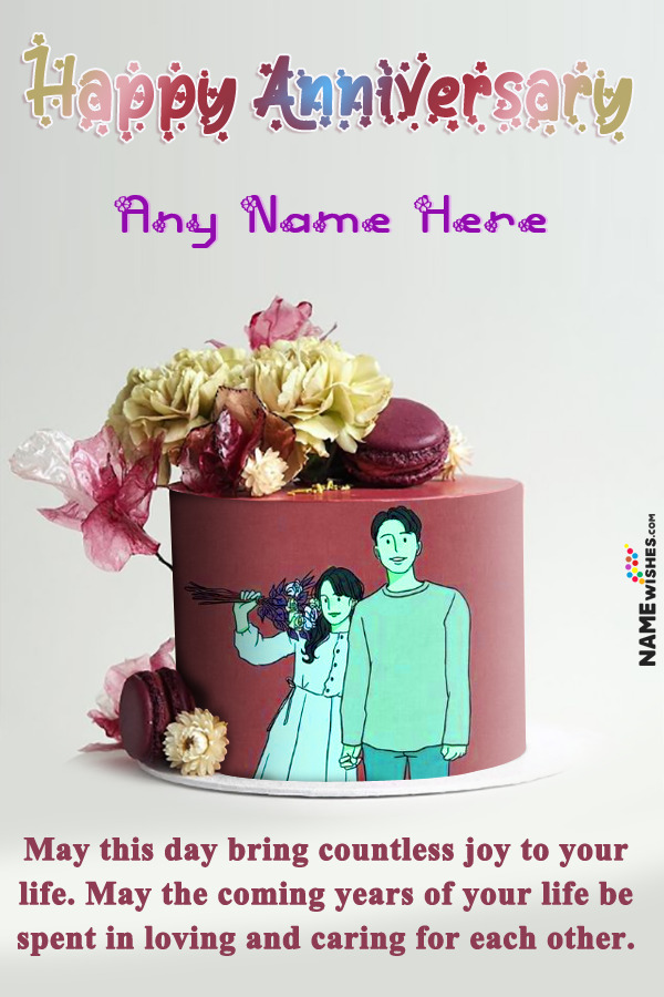 Macrons and Flowers Anniversary Cake with Name and Photo